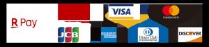 VISA, mastercard, JCB, AMERICAN EXPRESS, Diners Club,DISCOVER, RakutenCard, RakutenPay